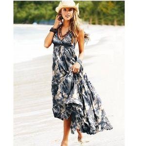Moda International Blue Gray Maxi Dress Size L